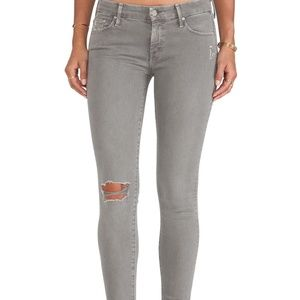 Mother Jeans Blow Out Distressed Gray 26